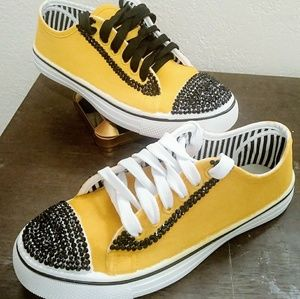 Shoes - Yellow painted sneakers with black rhinestones